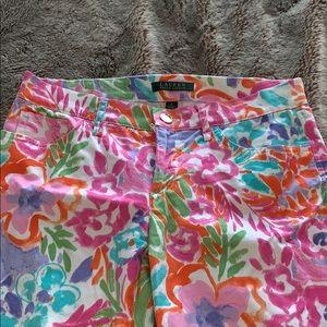 Ralph Lauren floral print cotton pants. Size 4.